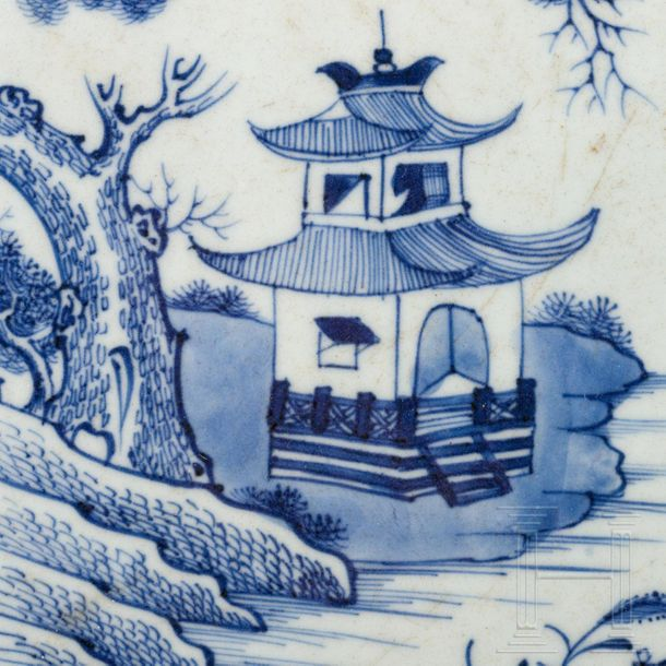 A large Chinese blue and white porcelain plate, Qianlong period, 18th century  L…