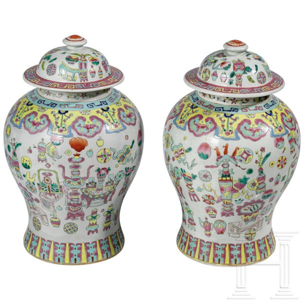 A pair of lidded Chinese vases with six character mark, 19th century Large ovoid…