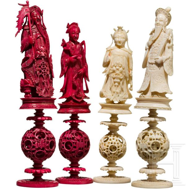 A Chinese carved ivory chess set, Guangzhou, 19th century Each piece made of sev…