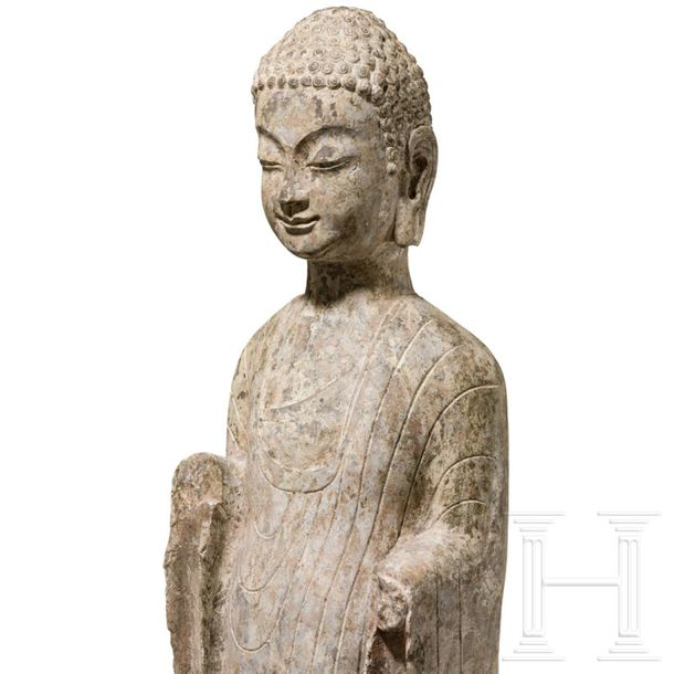 A North Chinese fully sculptured torso of a standing Buddha, Qi Period, 550 577 …