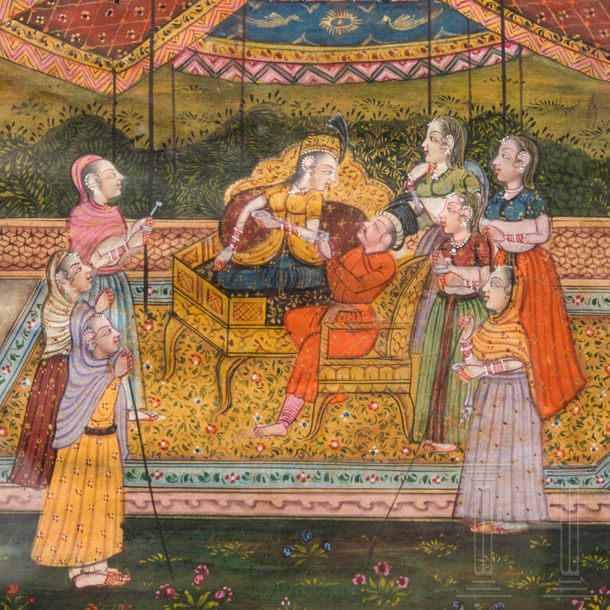 A miniature Gouache painting of a Shahname motif, northern India, 2nd half of th…