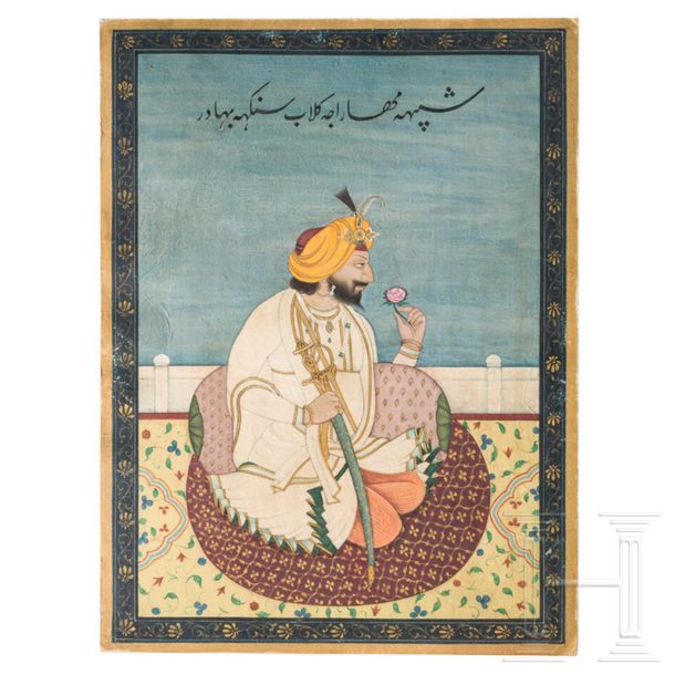 A miniature painting of Gulab Singh, maharajah of Kashmir, India, Jammu, circa 1…