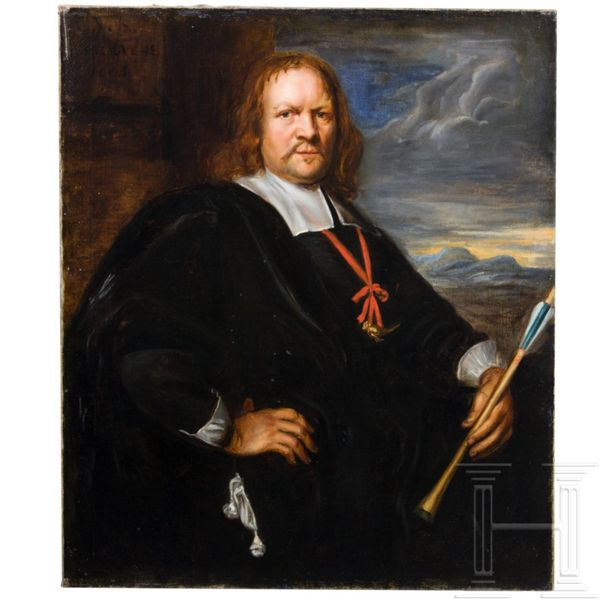A Dutch portrait of a member of a crossbow shooting society, dated 1665 Oil on c…