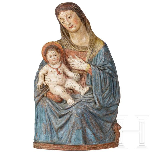 A rare Sicilian Renaissance Madonna and Child, known as a Nursing Madonna, 16th …