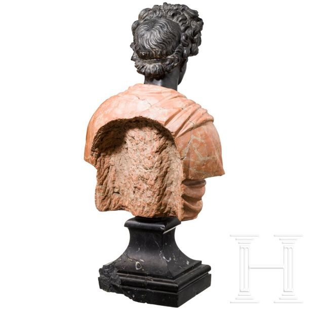 An Italian bust of a young lady after antique model, 18th century Worked in diff…