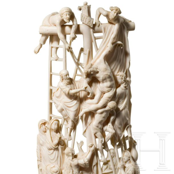 A large, impressive ivory group with a depiction of the Deposition of Christ, Di…