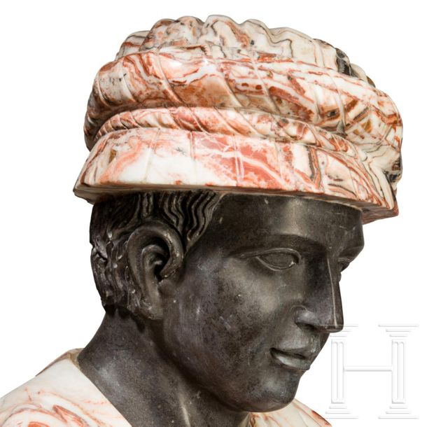 An Italian life size marble bust of an Arab, 19th/20th century Mehrteilig gearbe…