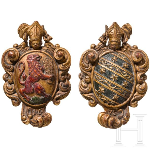 Two prince bishop coats of arms in a box in book form, Würzburg, 18th century Th…