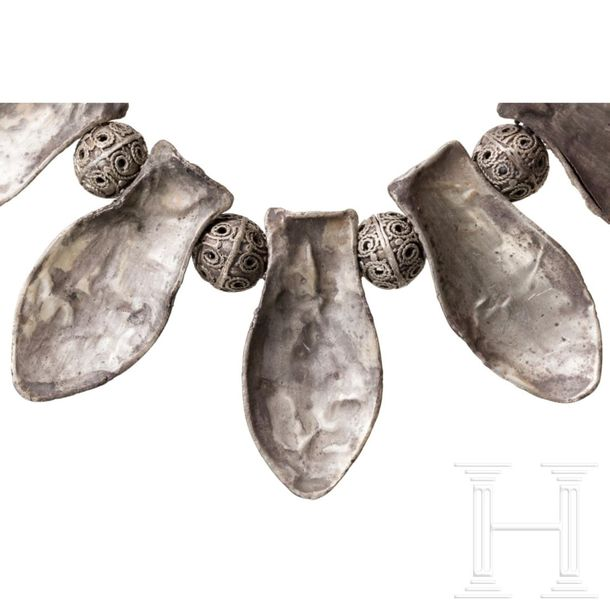 An early Slavic Russian silver necklace, comparable to a necklace from the Kreml…