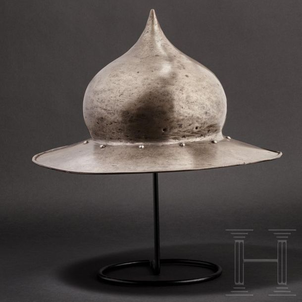 A rare German late Gothic kettle hat, circa 1500 The heavy skull forged in one p…