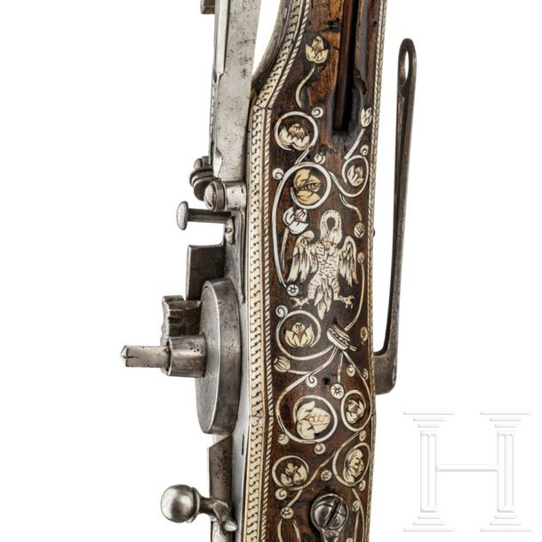 A profusely bone inlaid South German wheel lock puffer with etched barrel, circa…