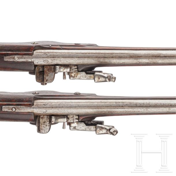 A pair of North German or Flemish military wheellock pistols, circa 1650 Round b…