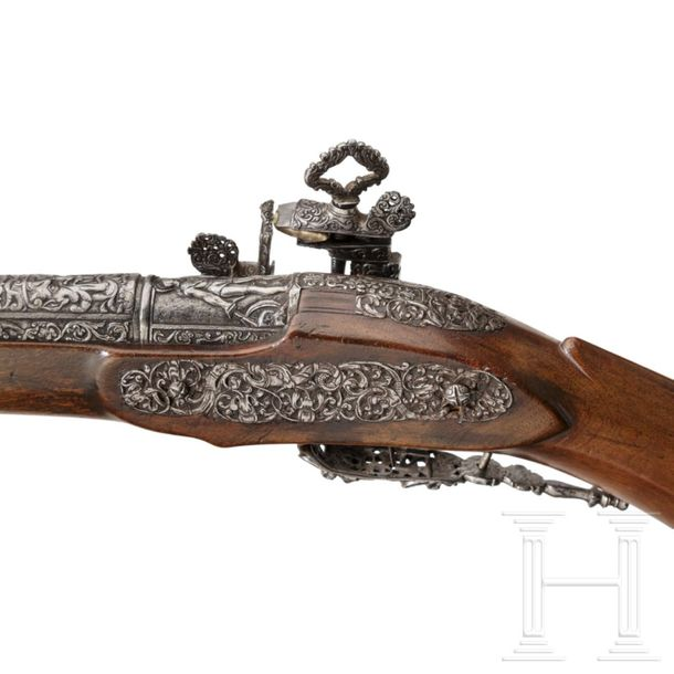 A luxurious Italian miquelet rifle with chiselled decoration, Brescia, circa 168…