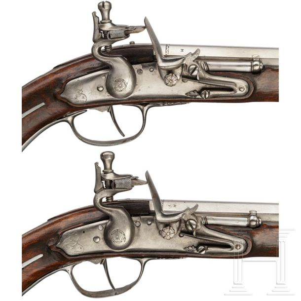 A rare pair of flintlock holster pistols made for superimposed loads, from the a…