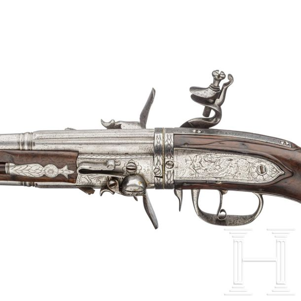 A rare German four shot flintlock wender pistol for superimposed charges, circa …