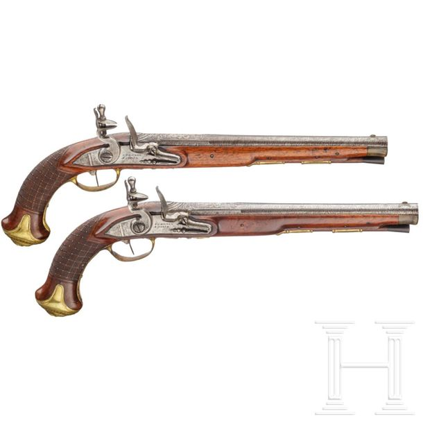 A pair of flintlock pistols, Meckel in Schwerin, circa 1730 and later Round barr…