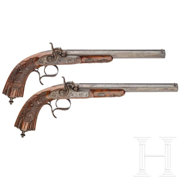 A pair of cased percussion pistols by Fauré Le Page, Paris, circa 1850 Blued oct…