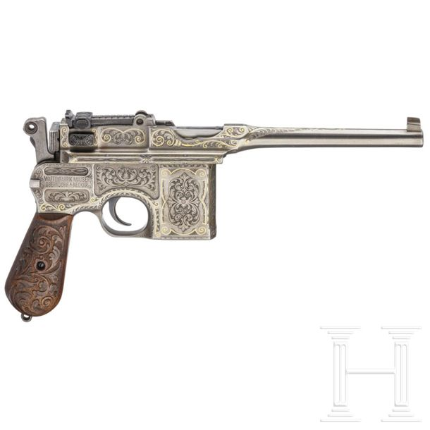 An engraved Mauser C 96 Cal. 9 mm Luger, SN. 31933, Matching numbers. Slightly m…
