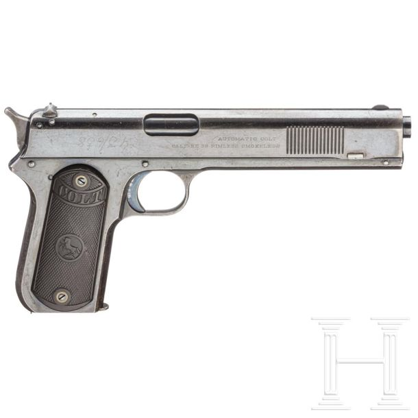 A Colt Model 1900 Automatic Pistol Cal. .38 rimless, SN. 3392, Matching numbers.…