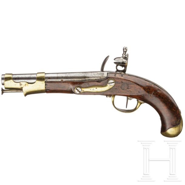 A French flintlock cavalary pistol, Maubeuge M an 9, made 1808 Runder 200 mm Lau…