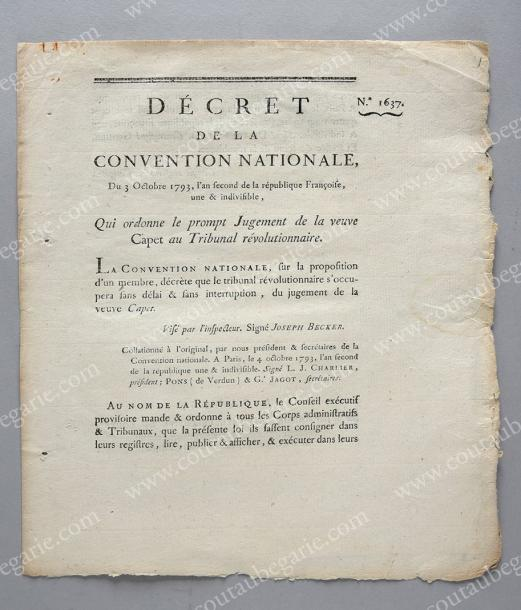 [JUGEMENT DE LA REINE]. Décret de la Convention Nationale du 3 octobre 1793 qui…
