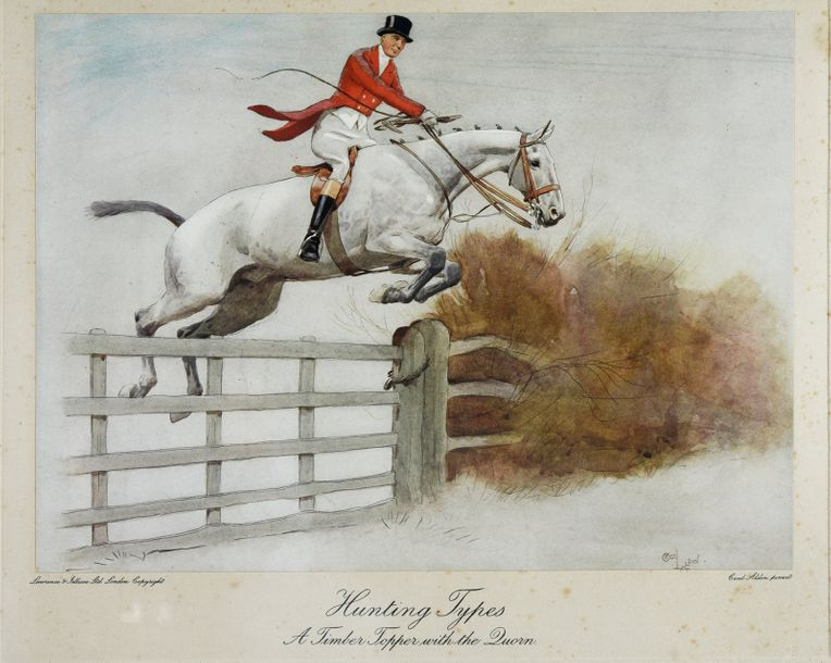 Cecil ALDIN (d'après) Hunting Types. A Timber Topper with the Quorn. Gravure en couleurs.…
