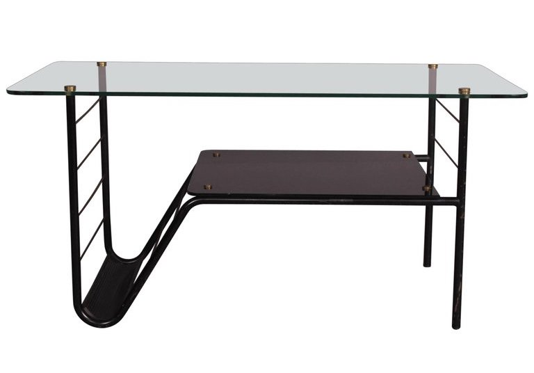 GUARICHE Pierre (1926 1995). Table basse (c. 1960) Métal tubulaire, tôle perforé…