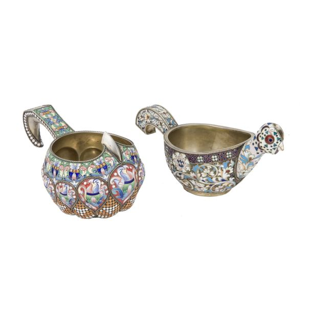 2 Russian enamelled gilt silver kovsh, the first, Saint Petersburg, 1894, 7by13c…