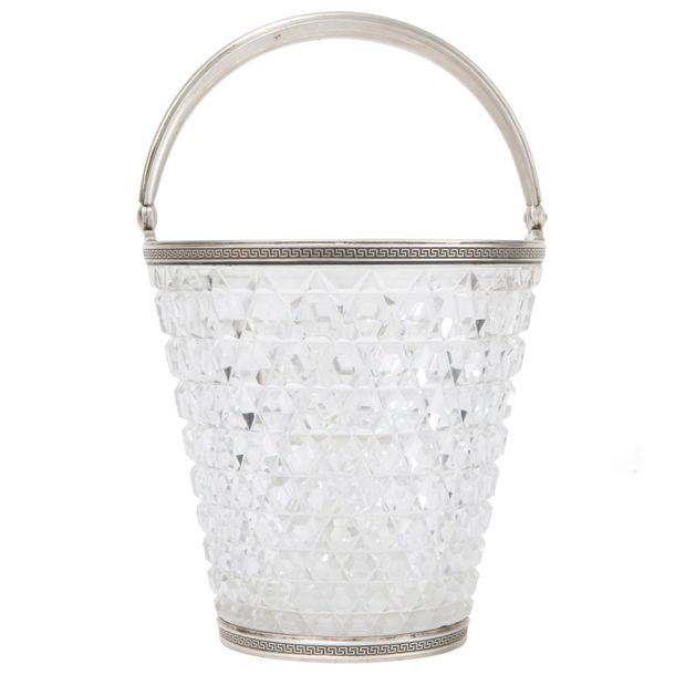 A Russian silver mounted crystal ice basket, Carl Fabergé, 14by14cm.