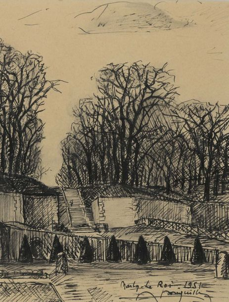 Albert BOUQUILLON (1908-1997)  Lot de 2 dessins  Une vue du parc de Marly-le-Roi,…