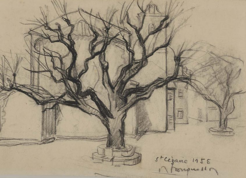 Albert BOUQUILLON (1908-1997)  Lot de 3 dessins  Arbres    - Fusain  Signé, daté…