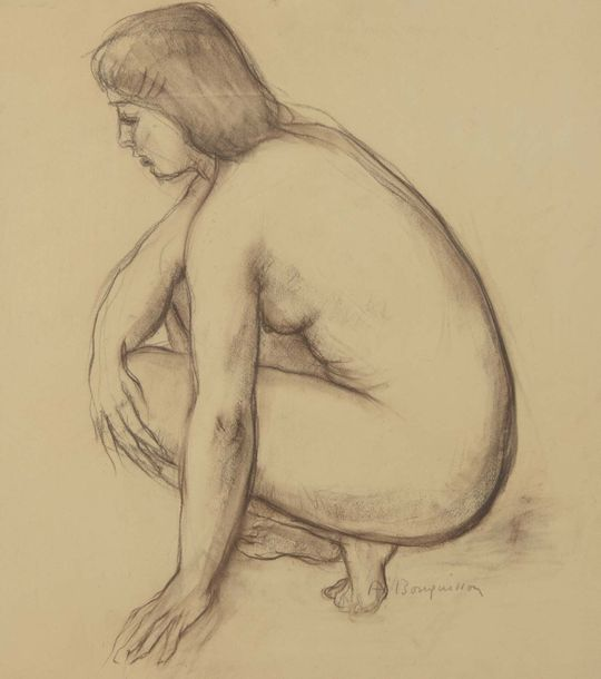 Albert BOUQUILLON (1908-1997)  Lot de 2 dessins  Nus assis et accroupi    - Crayon…