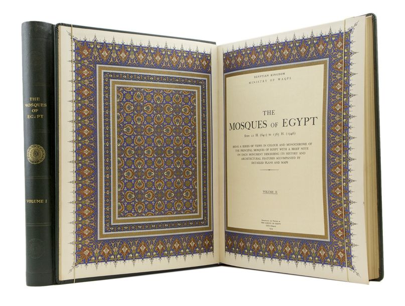 The Mosques of Egypt. Giza (Orman), The Survey of Egypt, 1949. 2 vol. in-folio cartonnage…