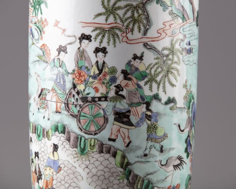 A Chinese famille verte rouleau vase The vase is decorated to the body with a la…