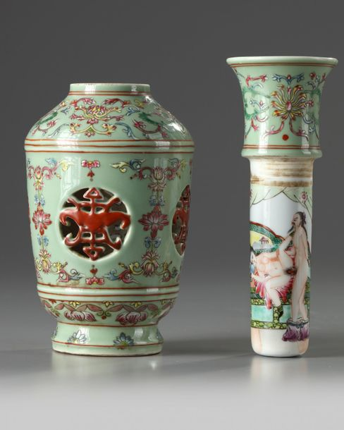 A Chinese celadon ground famille rose 'revolving' vase The vase is decorated to …