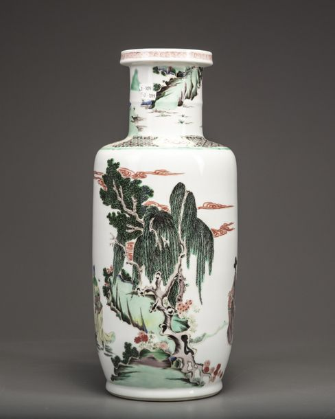 A Chinese famille verte rouleau vase The vase is decorated with a scene of figur…