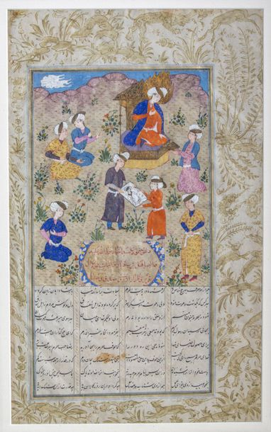 A framed Persian miniature painting A Persian manuscript on paper, with 8ll. Of …