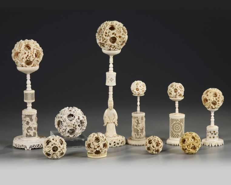 A GROUP OF CANTONESE CARVED PUZZLE BALLS AND STANDS, CHINA, 19TH CENTURY The gro…