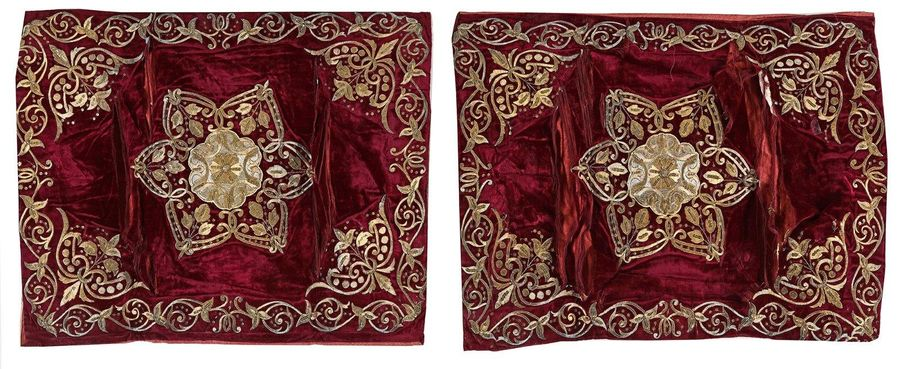 A PAIR OF OTTOMAN EMBROIDERED PILLOW CASES, TURKEY, 19TH CENTURY A Pair of Ottom…