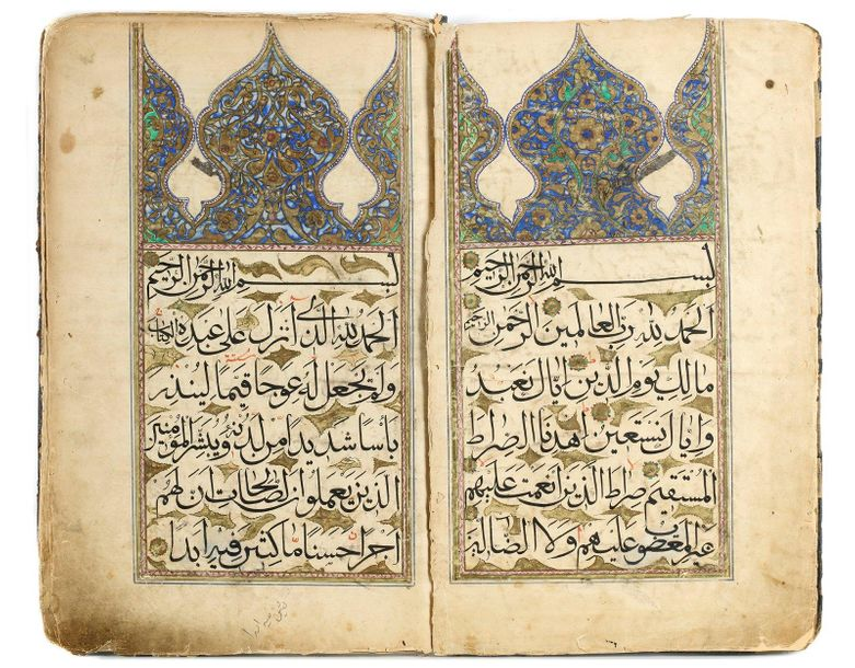 A LARGE OTTOMAN QURAN SECTION, 18TH CENTURY Arabic manuscript on paper, 22 leave…