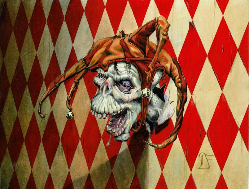 Dan Frazier Original Drawing Jester's Severed Head (Magic The Gathering CCG). Di…