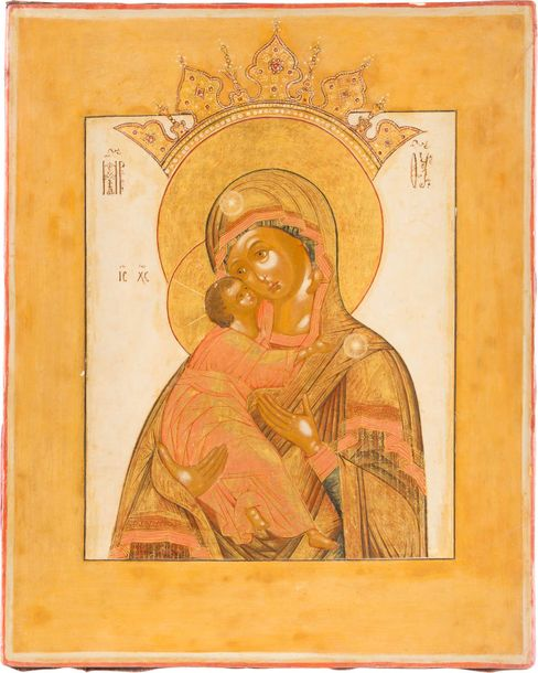 A FINE ICON SHOWING THE MOTHER OF GOD OF VOLOKOLAMSK Central Russian, circa 1800…