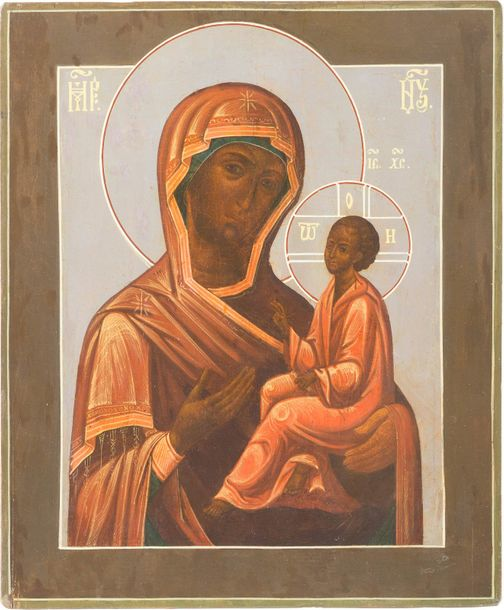 AN ICON SHOWING THE TIKHVINSKAYA MOTHER OF GOD Russian, late 19th century Temper…