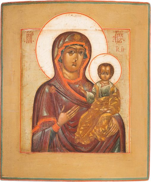 AN ICON SHOWING THE SMOLENSKAYA MOTHER OF GOD Russian, 18th century Tempera on w…
