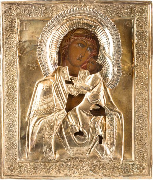 AN ICON SHOWING THE TOLGSKAYA MOTHER OF GOD WITH OKLAD Russian, 19th century (ic…