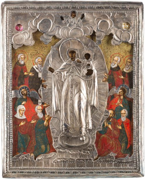 THREE ICONS SHOWING IMAGES OF THE MOTHER OF GOD WITH OKLAD Russian, 18th 20th ce…