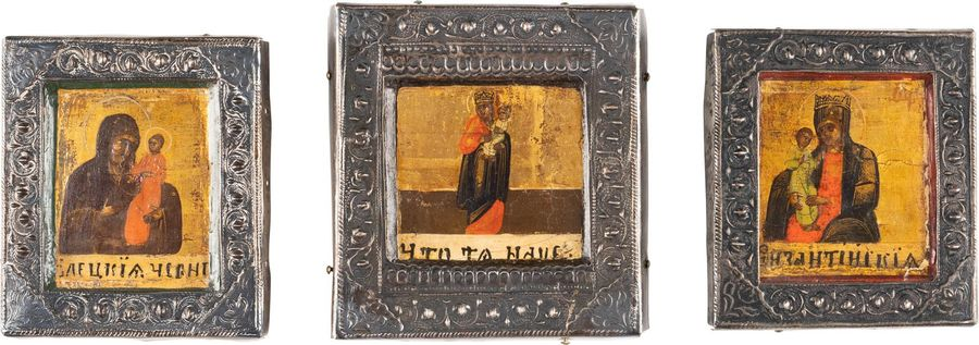 THREE SMALL ICON FRAGMENTS SHOWING IMAGES OF THE MOTHER OF GOD WITH SILVER BASMA…