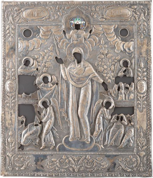 A SILVER AND CLOISONNÉ ENAMEL OKLAD OF AN ICON SHOWING THE MOTHER OF GOD 'JOY TO…