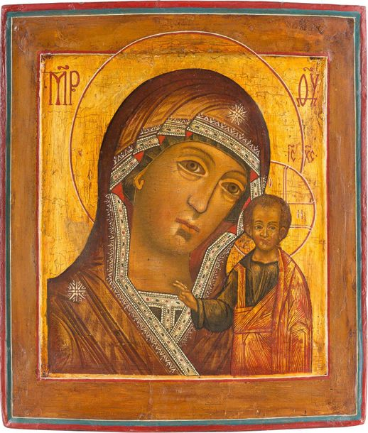 AN ICON SHOWING THE KAZANSKAYA MOTHER OF GOD Russian, 18th century Tempera on wo…