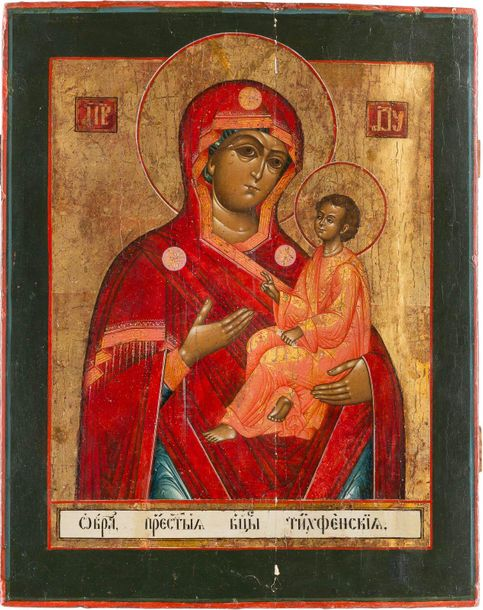A LARGE ICON SHOWING THE TIKHVINSKAYA MOTHER OF GOD Russian, late 18th century T…